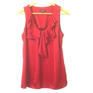 NWOT Le Chateau Red Ruffle Collar Blouse